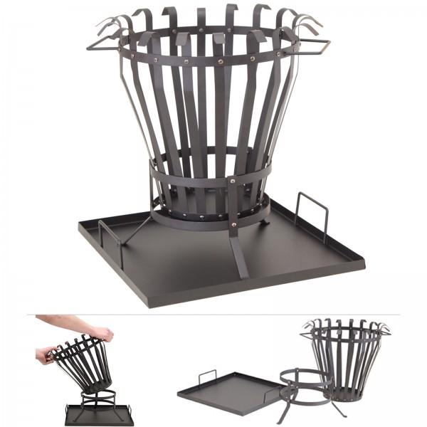 Grafner® Feuerkorb mit Bodenplatte Feuerschale Ø 38cm Feuerstelle