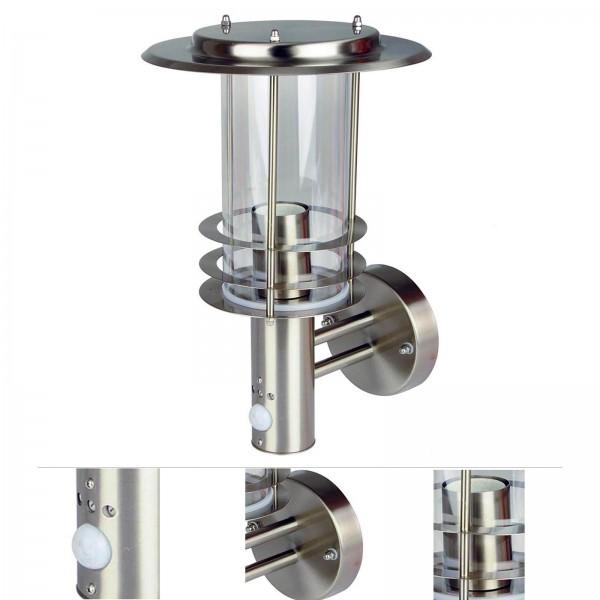 Grafner® Edelstahl Wandlampe mit Bewegungsmelder 17WBPIR Wandleuchte Hofleuchte