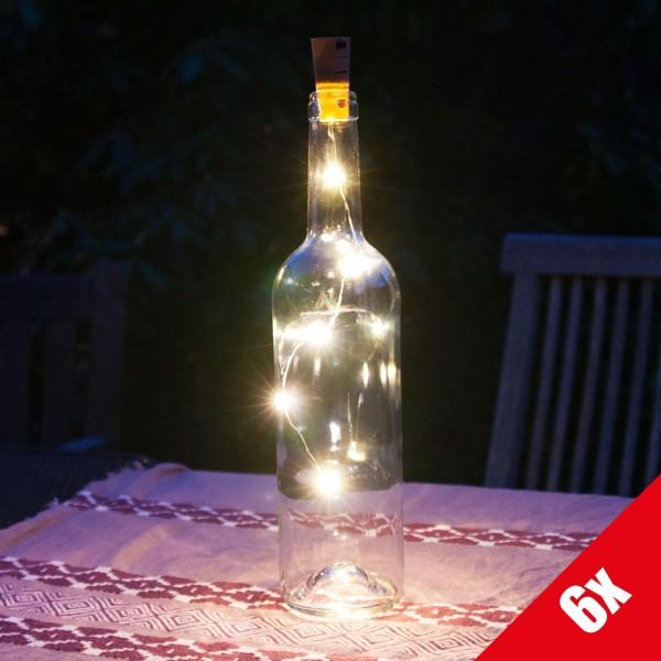 6er Set Grafner® LED Korken Lichterkette für Weinflaschen Drahtlichterkette Flaschenbeleuchtung
