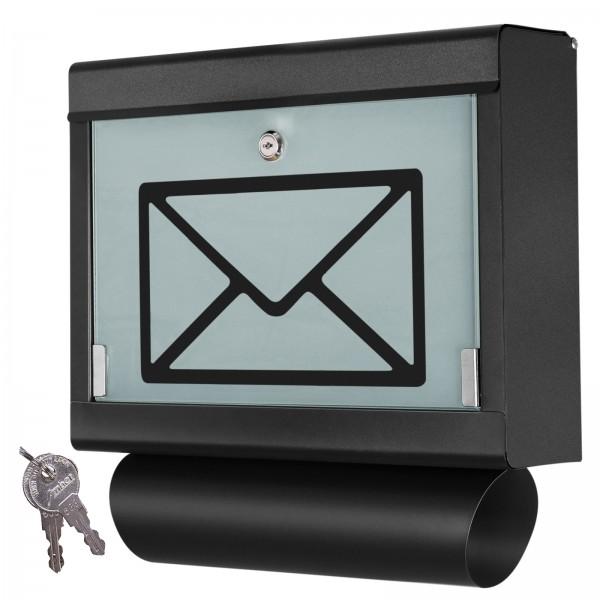 Grafner® Briefkasten mit Zeitungsrolle Schwarz aus Edelstahl und Glas Motiv Briefumschlag Postkasten