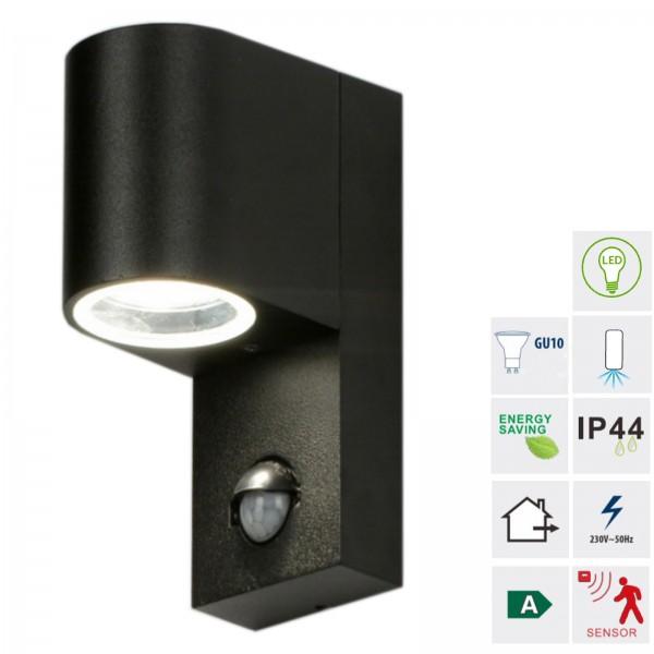 Grafner® Aluminium Wandlampe mit Bewegungsmelder 37WBPIR Wandleuchte Lichtschein Down/Unten schwarz