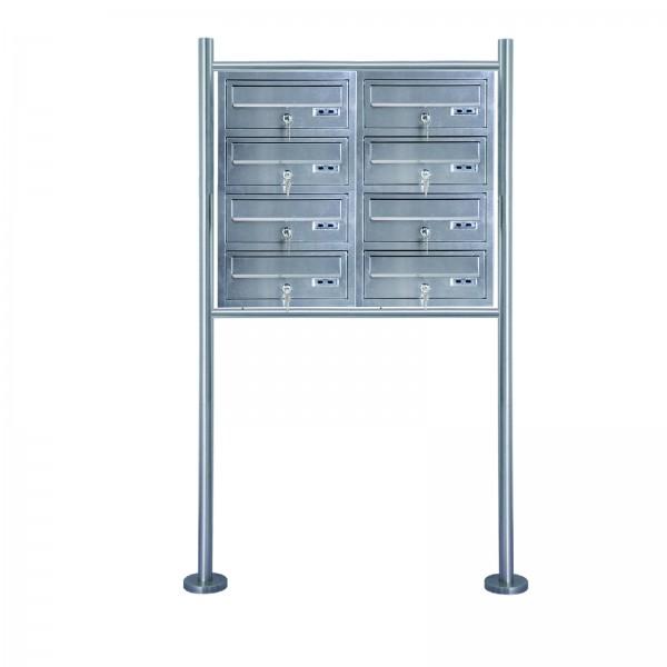 Grafner® Edelstahl Briefkastenanlage für Mehrfamilienhäuser 8 Einheiten 150cm Standbriefkasten
