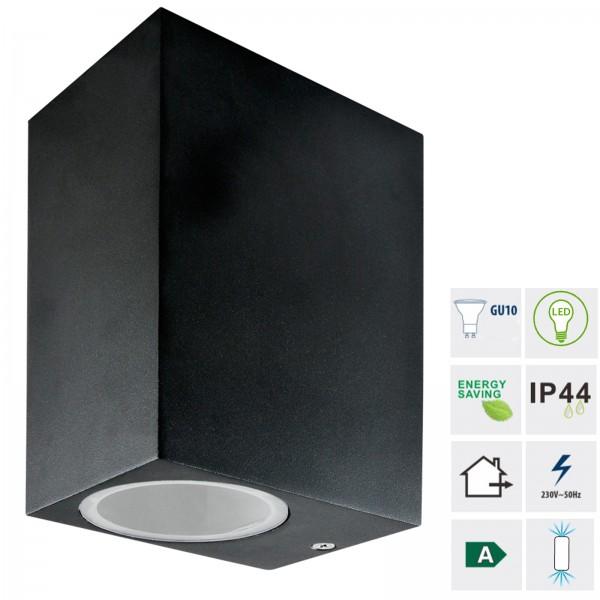Grafner® Aluminium Wandlampe 37SQWB-2 schwarz Wandleuchte Lichtschein Up&Down/Oben&Unten