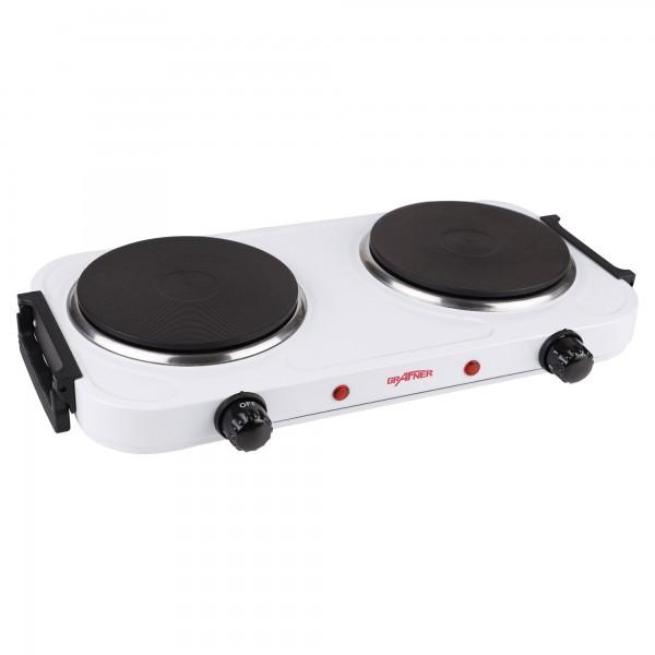 Grafner® Kochplatte doppelt 2000 Watt mit klappbaren Griffen Weiß KP10879