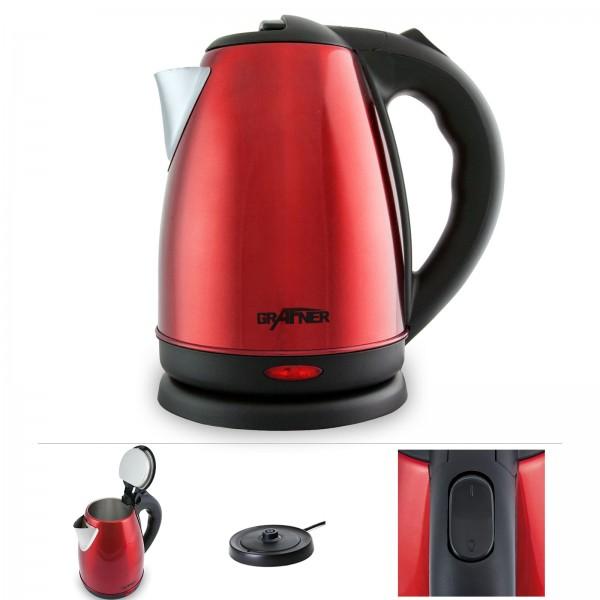Grafner® Edelstahl Wasserkocher 1800-2200 Watt 1,8 Liter Rot