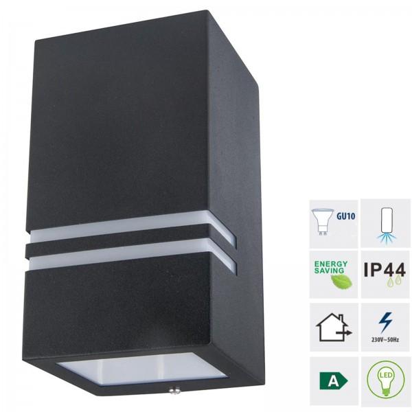 Grafner® Edelstahl Wandlampe 5142 Leuchte Lichtschein Down/Unten in schwarz