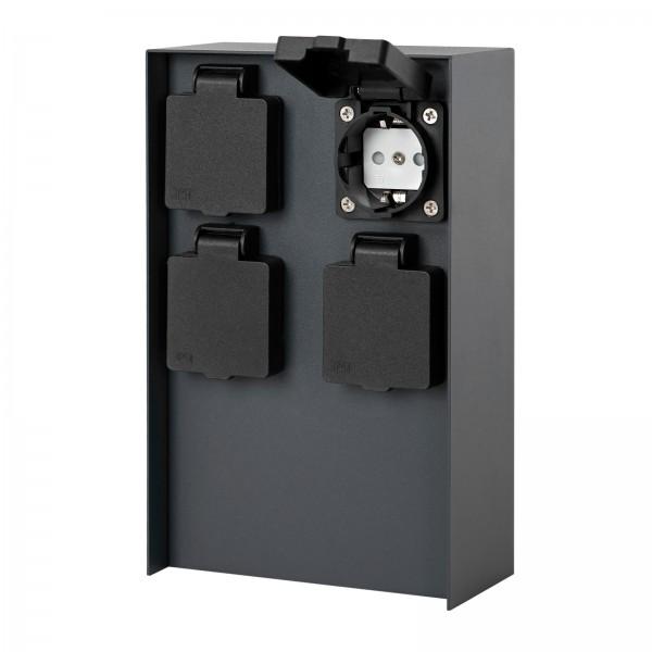 Grafner® Steckdosensäule Schwarz mit 4 Außensteckdosen Edelstahl Gartensteckdose Energiesäule