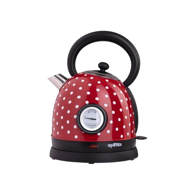 Grafner® Retro-Wasserkocher 1,8 Liter 2200 Watt mit Thermometer rot / Pünktchen | WK10863