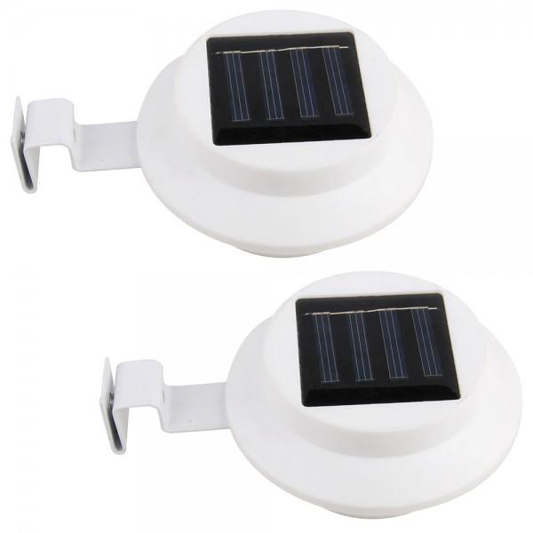 2er Set Grafner® Solar LED Dachrinnenleuchten in weiss Dachrinnenbeleuchtung