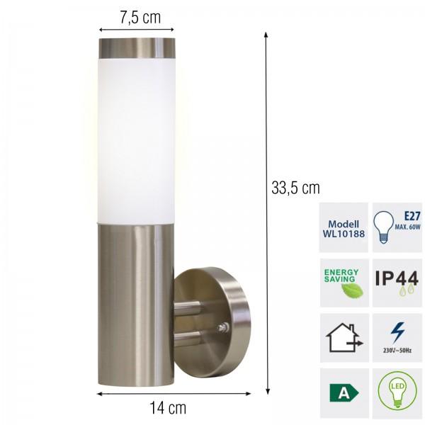 Grafner® Edelstahl Wandlampe 10WB Wandleuchte