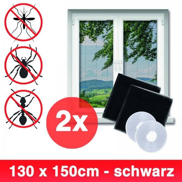 Grafner® 2er Set Insektenschutz Fliegengitter Fenster 130x150cm mit Klettband IS10909 schwarz