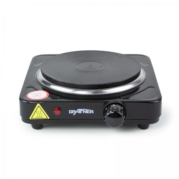 Grafner® Einzel Kochplatte 1.000 Watt in schwarz Camping Kochfeld Herdplatte