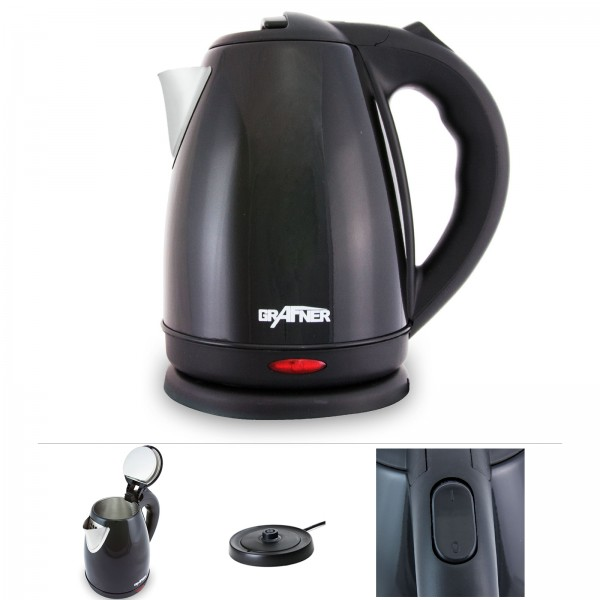 Grafner® Edelstahl Wasserkocher 1800-2200 Watt 1,8 Liter Schwarz