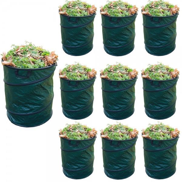10er Set Grafner® Pop-Up Gartenabfallsack 80 Liter Gartentasche rund Laubsack