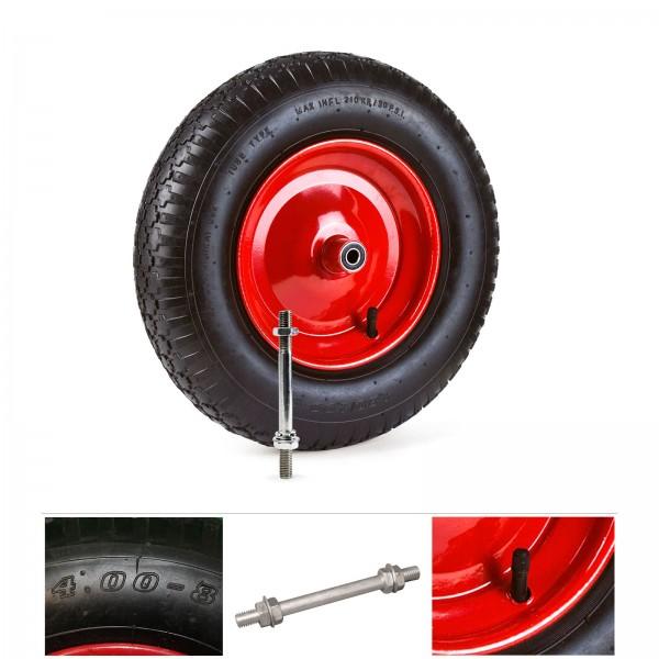 Grafner® Schubkarrenrad 4.80/4.00-8 PU Luftbereifung Metallfelge mit Achse Schubkarrenreifen