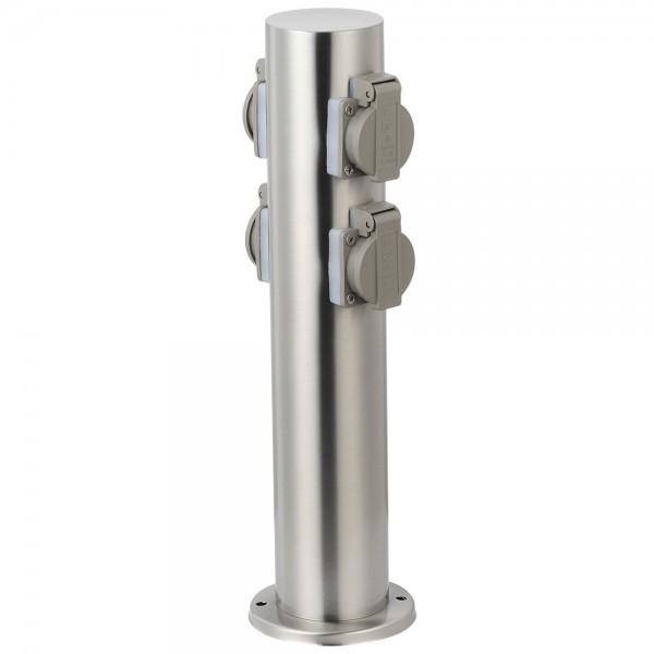 Grafner® Edelstahl Steckdosensäule mit 4 Außensteckdosen Gartensteckdose Energiesäule