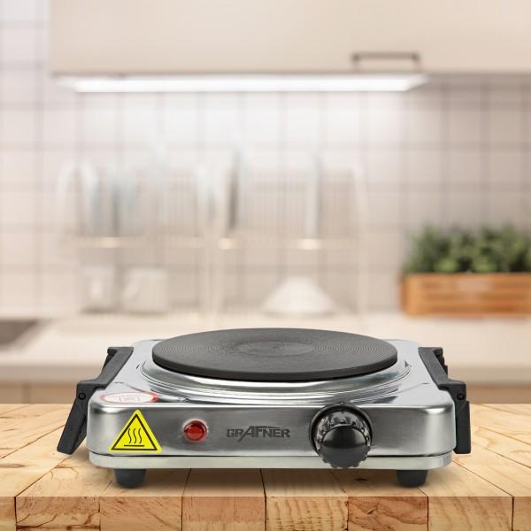 Grafner Kochplatte einzel 1000 Watt mit klappbaren Griffen Edelstahl KP10881