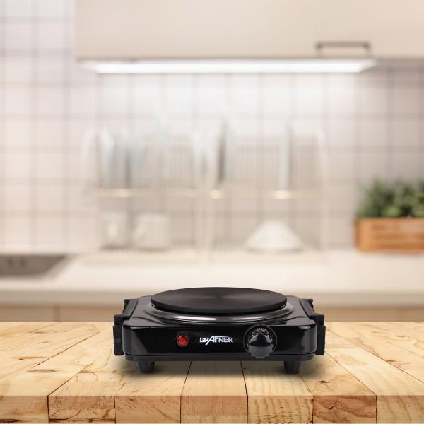 Grafner® Kochplatte einzel 1000 Watt mit klappbaren Griffen Schwarz KP10878