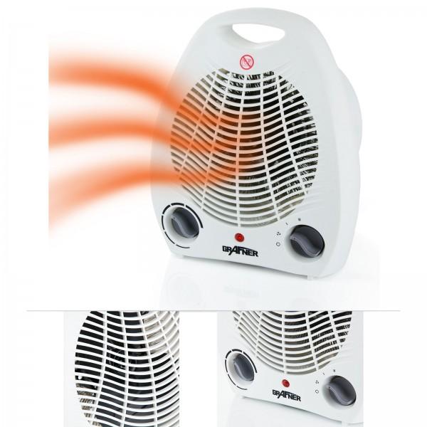 Grafner® Heizlüfter in weiß Heizgerät Schnellheizer mit 3 Heizstufen kalt 1000W 2000W und Kippschutz