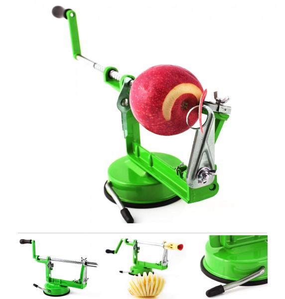 Grafner® 3in1 Apfelschälmaschine mit Edelstahlklinge grün Apfelschäler Apfelentkerner Apfelschneider