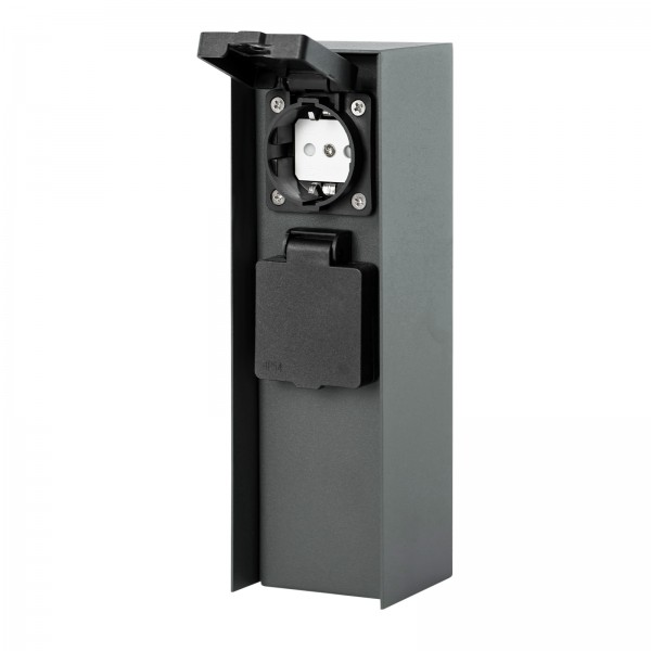 Grafner® Anthrazit Steckdosensäule mit 2 Außensteckdosen Edelstahl Gartensteckdose Energiesäule
