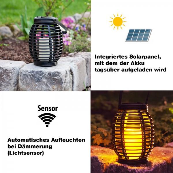 Grafner® LED Solar Laterne mit Kerze 20cm Außen Windlicht oval zum hängen
