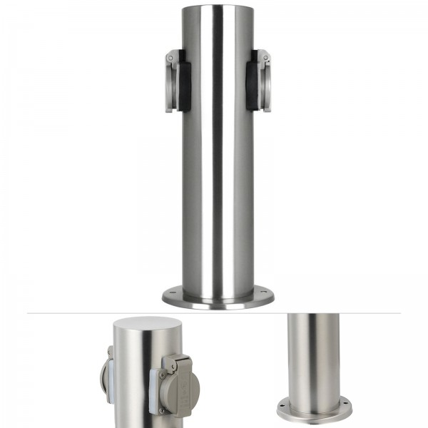 Grafner® Edelstahl Steckdosensäule mit 2 Außensteckdosen Gartensteckdose Energiesäule