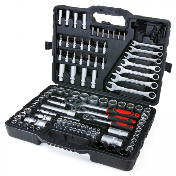 """Grafner® 1/4"""" 1/2"""" 3/8"""" Steckschlüsselsatz 120 teilig Knarrenkasten Werkzeugkoffer"""