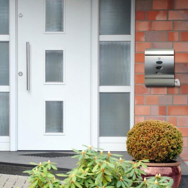 Grafner® Edelstahl Briefkasten mit Zeitungsrolle und 3 Sichtfenstern Postkasten
