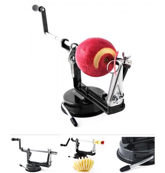 Grafner® 3in1 Apfelschälmaschine mit Edelstahlklinge schwarz Apfelschäler Apfelentkerner Apfelschneider