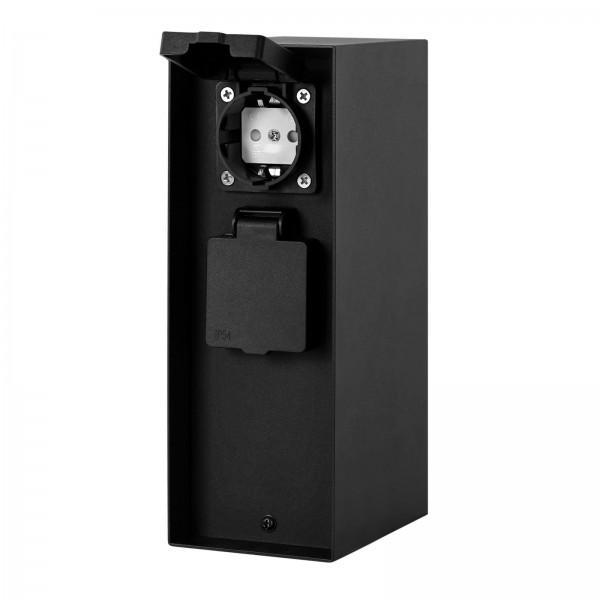 Grafner® Steckdosensäule Schwarz mit Timer und 2 Außensteckdosen Edelstahl Gartensteckdose