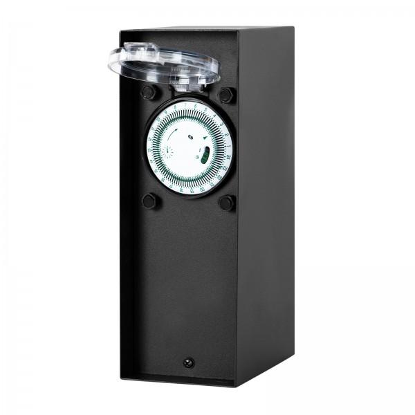 Grafner® Steckdosensäule Anthrazit mit Timer und 2 Außensteckdosen Edelstahl Gartensteckdose Energiesäule
