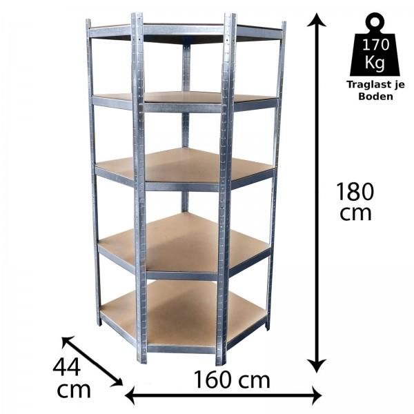 Grafner® Eck Schwerlastregal 1,80m Werkstattregal auf 5 Ebenen 850kg Traglast