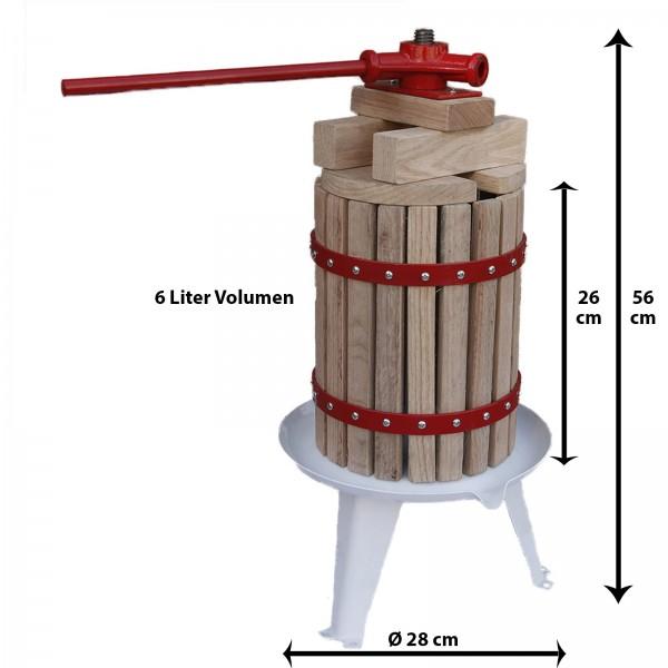 Grafner® Obstpresse 6 Liter Füllkorb aus amerikanischer Eiche mit 1 Presstuch Saftpresse Weinpresse