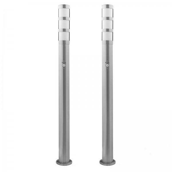 Bundle 2x Grafner® XXL Edelstahl-Wegleuchte mit Bewegungsmelder 137S11PIR (2x 14514)