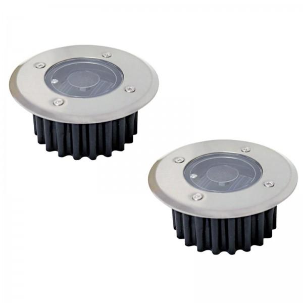 2er Set Grafner® Solar LED Bodenstrahler rund Bodenleuchte Einbaustrahler