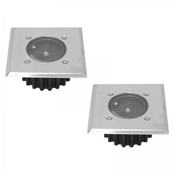 2er Set Grafner® Solar LED Bodenstrahler eckig Bodenleuchte Einbaustrahler