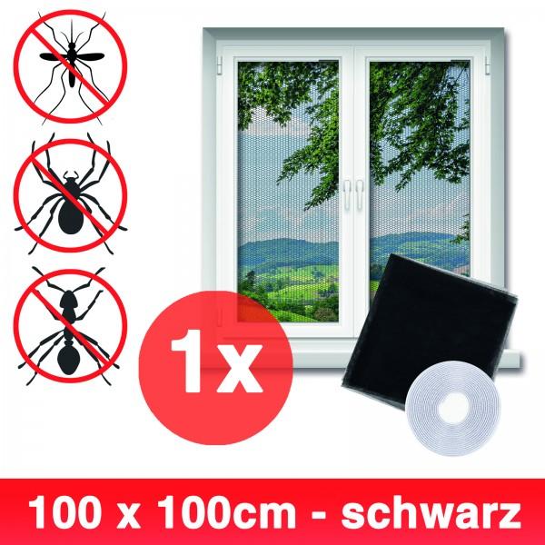 Grafner® Insektenschutz Fliegengitter Fenster 100x100cm mit Klettband IS10907 schwarz