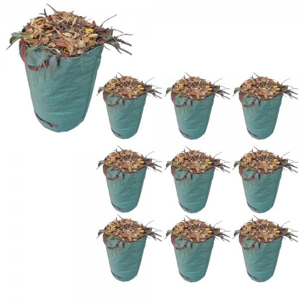 10er Set Grafner® Gartenabfallsack 272 Liter Gartentasche rund Laubsack