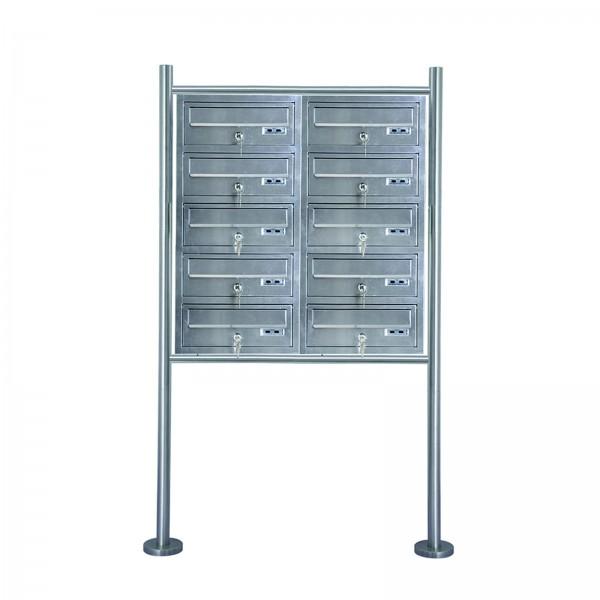 Grafner® Edelstahl Briefkastenanlage für Mehrfamilienhäuser 10 Einheiten 150cm Standbriefkasten