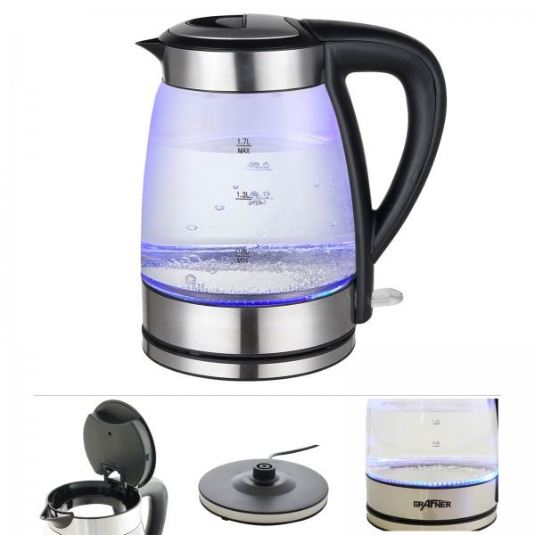 Grafner® Glas Wasserkocher mit LED Beleuchtung 2200 Watt 1,7 Liter
