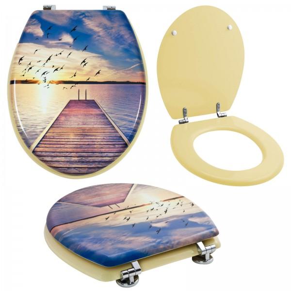 Grafner® WC Sitz mit Absenkautomatik Motiv Boardwalk Toilettendeckel