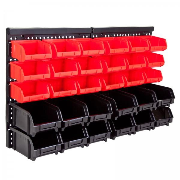 Grafner® 32tlg. Wandregal mit Stapelboxen Sortimentskasten Schraubenregal Stapelboxen