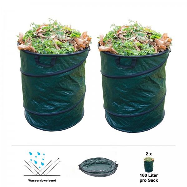 2er Set Grafner® Pop-Up Gartenabfallsack 160 Ltr. Gartentasche rund Laubsack