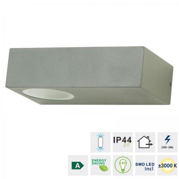 Grafner® Aluminium LED Wandlampe 6046 Leuchte Lichtschein Up&Down/Oben&Unten in dunkelgrau