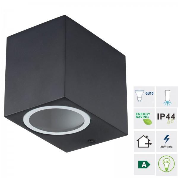 Grafner® Aluminium Wandlampe 37SQWB Wandleuchte Lichtschein Down/Unten in schwarz