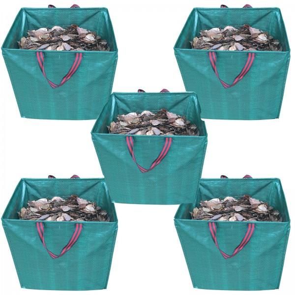 5er Set Grafner® Gartenabfallsack 275 Liter Gartentasche eckig Laubsack
