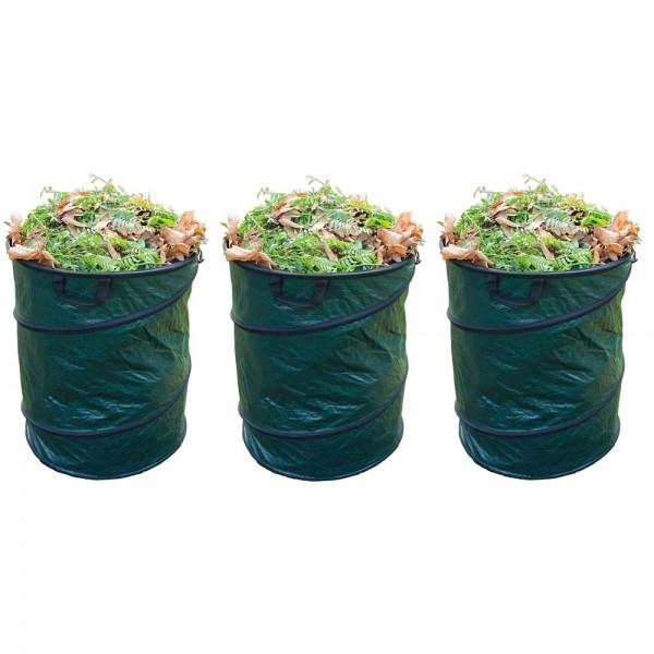 3er Set Grafner® Pop-Up Gartenabfallsack 160 Ltr. Gartentasche rund Laubsack