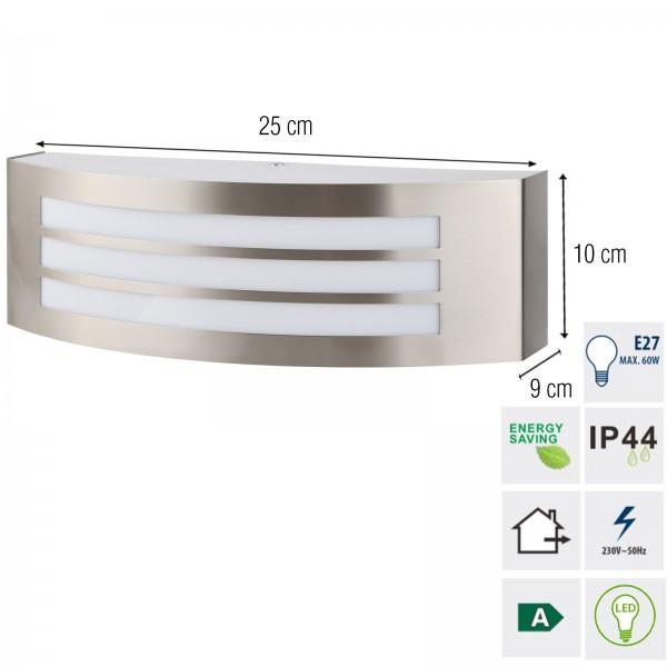 Grafner® Edelstahl Wandlampe 35SQE27-3 Wandleuchte WL10534