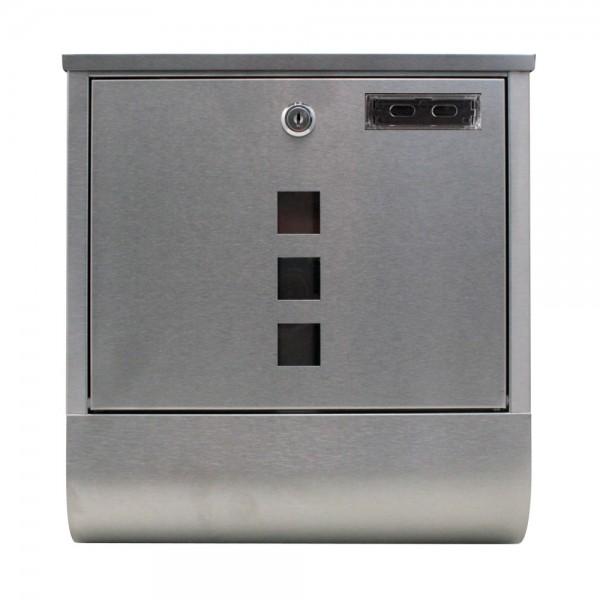 Grafner® Edelstahl Briefkasten mit Zeitungsrolle und 3 Sichtfenstern + Namensschild Postkasten